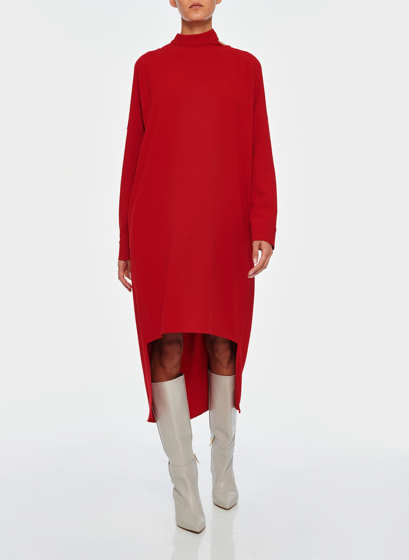Triacetate Dress with Removable Sequin Panel Brick Red-10