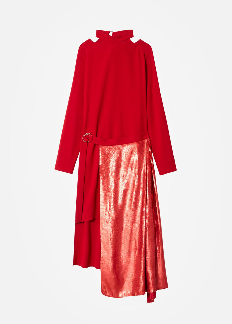Triacetate Dress with Removable Sequin Panel Brick Red-6