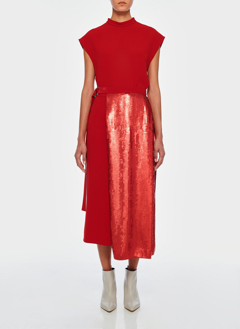 Triacetate Skirt With Removable Sequin Panel Brick Red-1