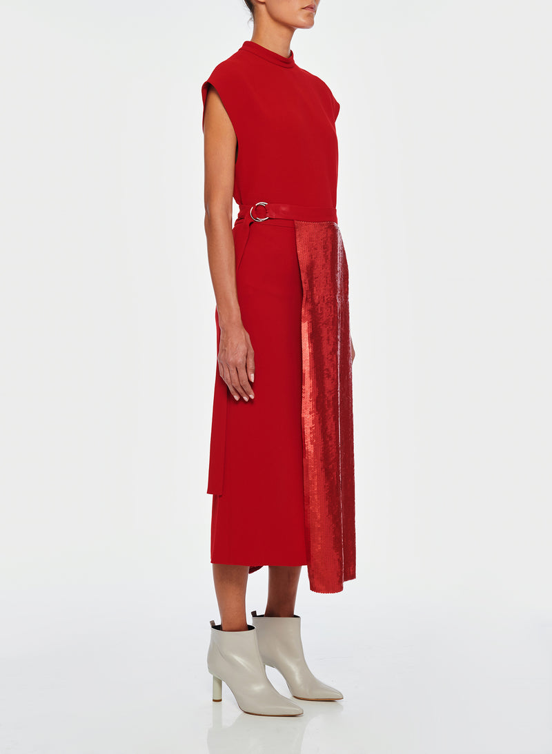 Triacetate Skirt With Removable Sequin Panel Brick Red-2