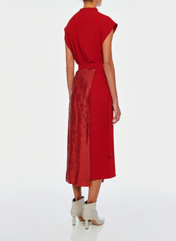 Triacetate Skirt With Removable Sequin Panel Brick Red-3