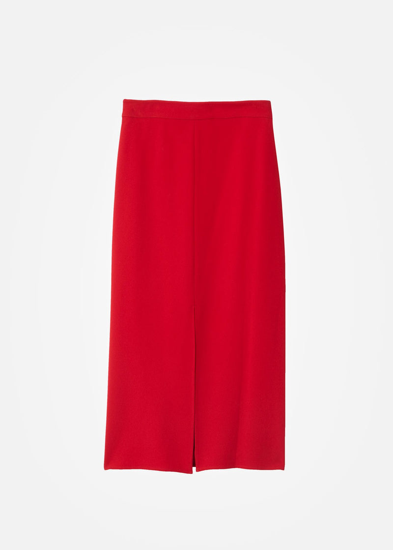 Triacetate Skirt With Removable Sequin Panel Brick Red-9