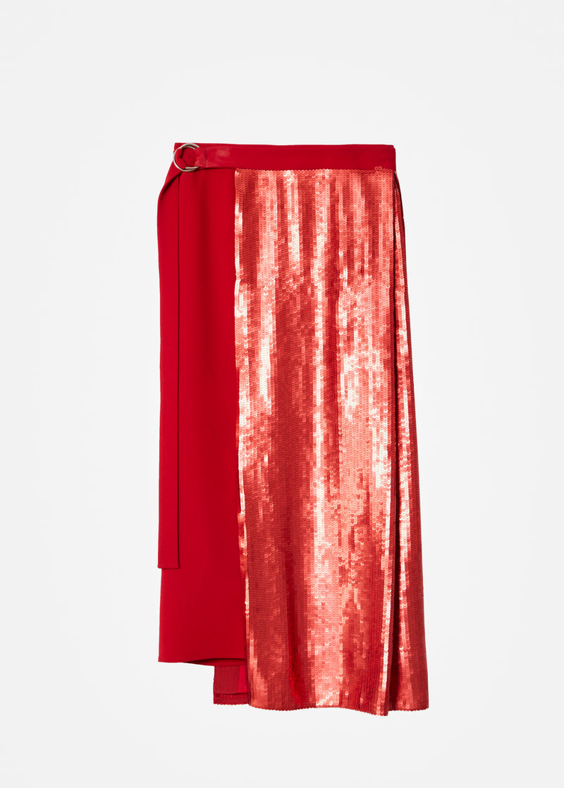 Triacetate Skirt With Removable Sequin Panel Brick Red-4