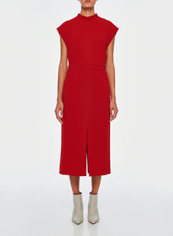 Triacetate Mock Neck Sleeveless Top Brick Red-1
