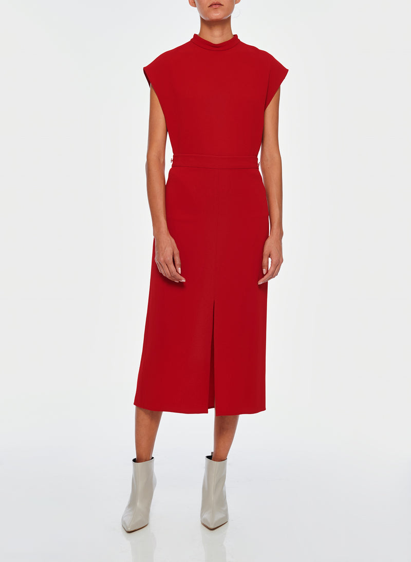 Triacetate Mock Neck Sleeveless Top Brick Red-3