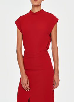 Triacetate Mock Neck Sleeveless Top Brick Red-4