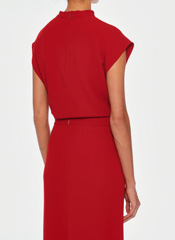 Triacetate Mock Neck Sleeveless Top Brick Red-5
