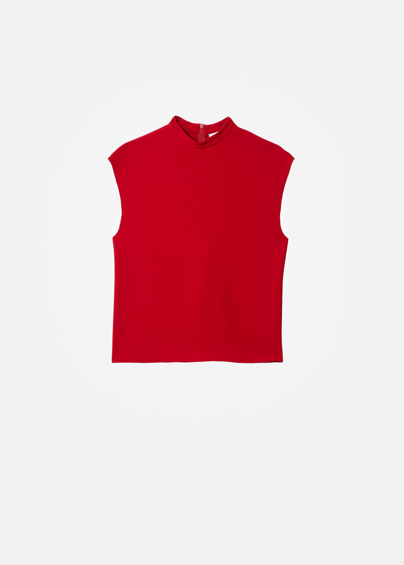 Triacetate Mock Neck Sleeveless Top Brick Red-6