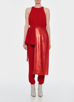 Triacetate Sequin Paneled Top Red-1