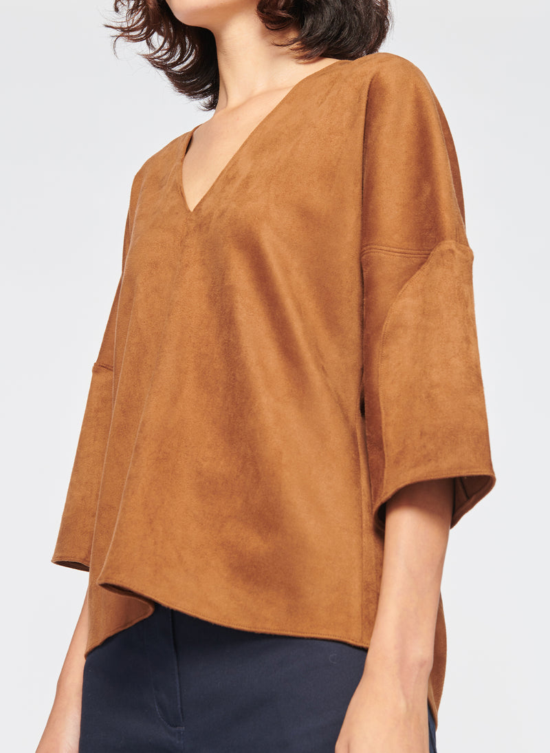 Washable Ultrasuede V-Neck Sculpted Sleeve Top Brown-2