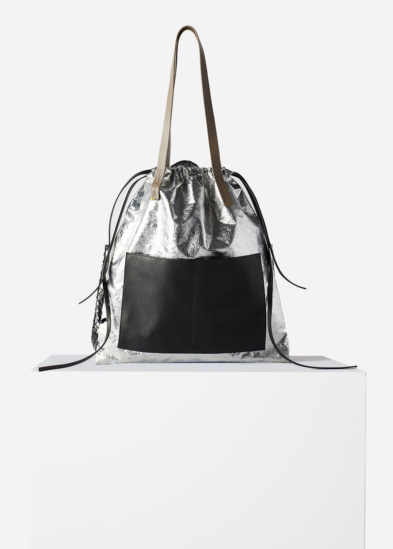 Tibi Vinyl Bag Silver Multi-1