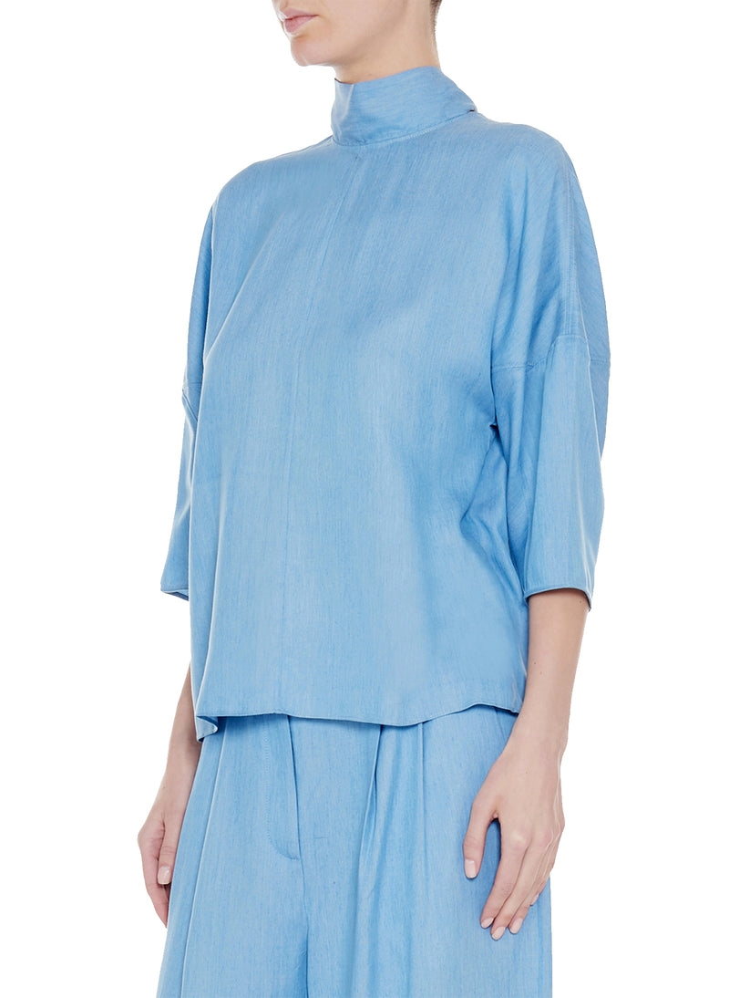 Chambray Drape Sculpted Sleeve Tie Top Light Denim-1