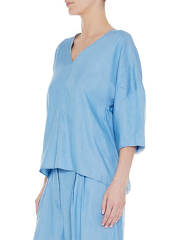 Chambray Drape V-Neck Sculpted Sleeve Top Light Denim-3