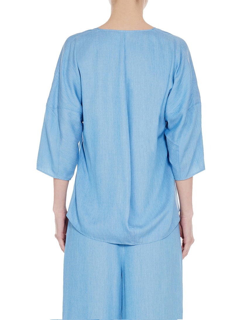 Chambray Drape V-Neck Sculpted Sleeve Top Light Denim-2