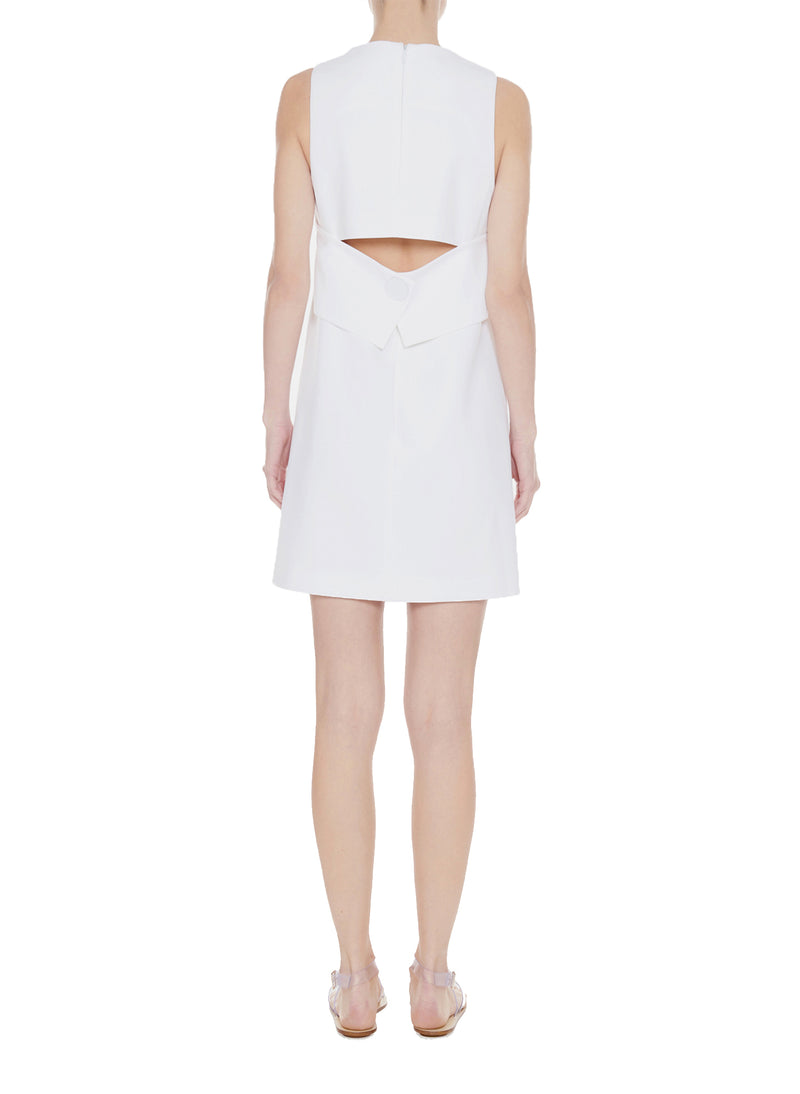 Structured Crepe Sleeveless Dress White-2
