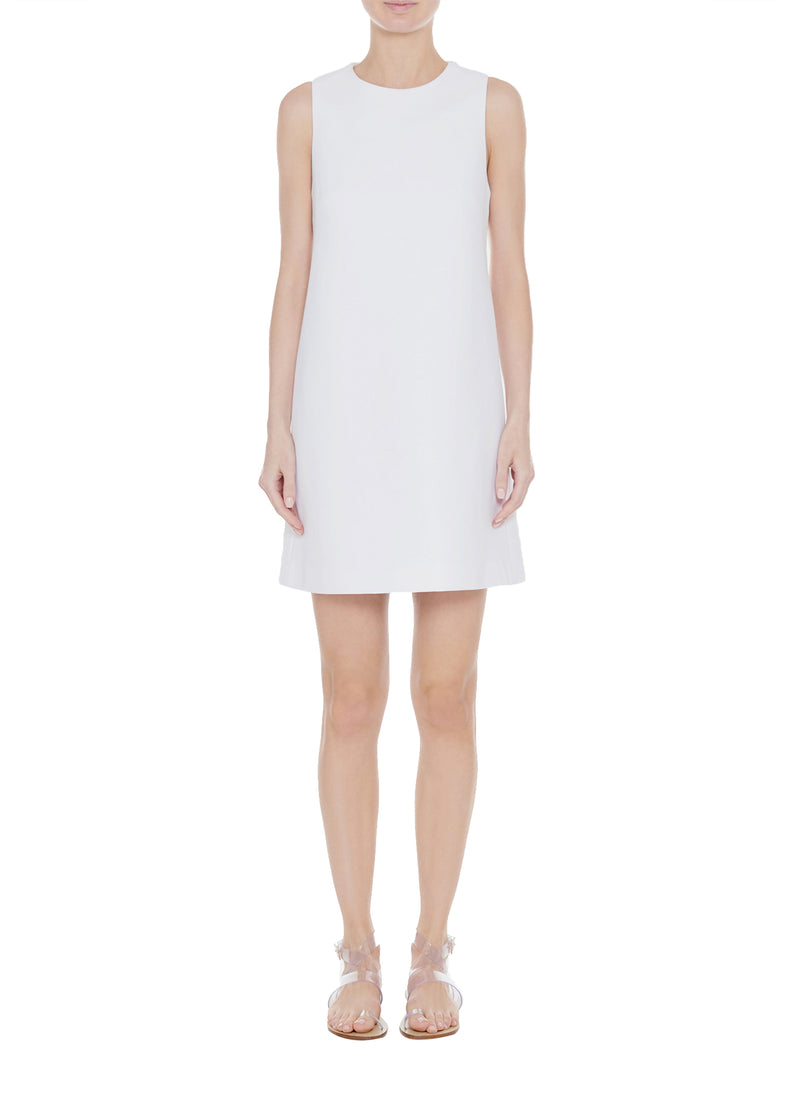 Structured Crepe Sleeveless Dress White-1