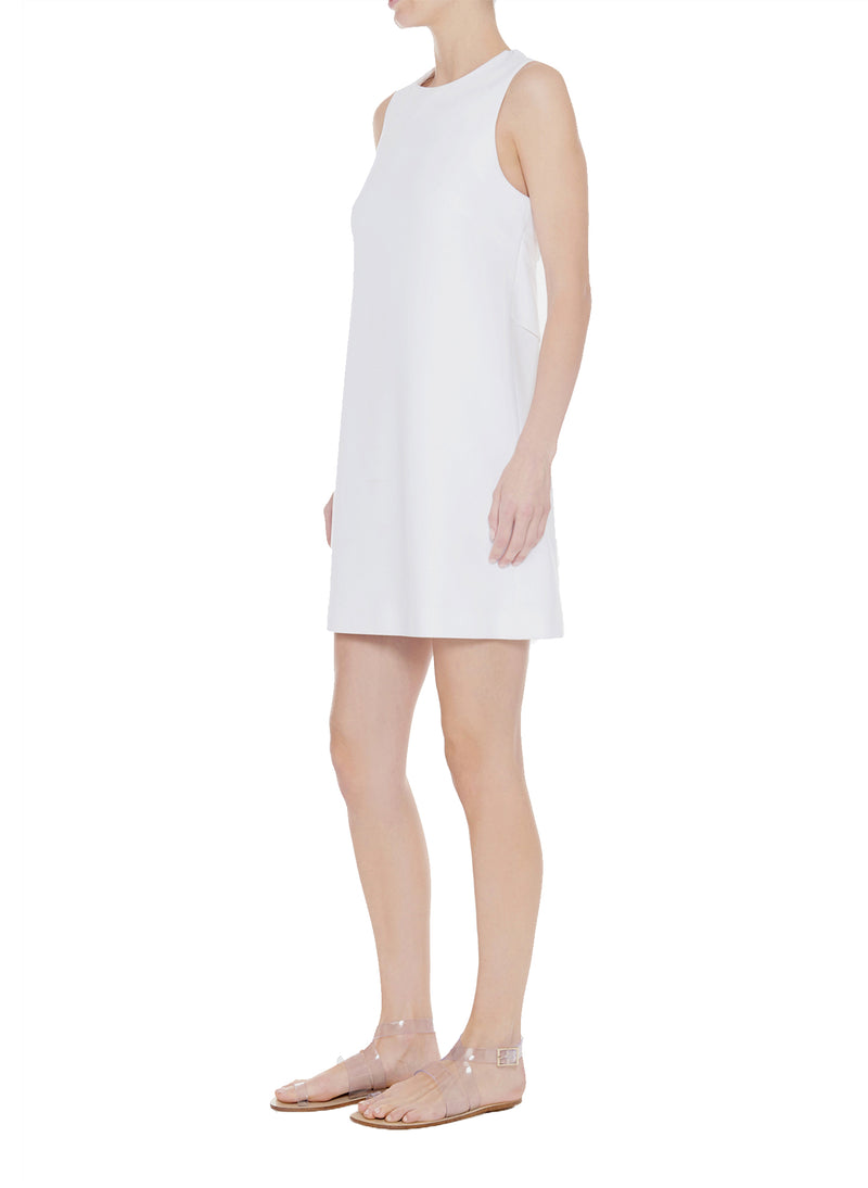 Structured Crepe Sleeveless Dress White-3