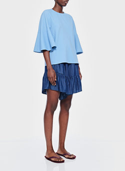 Chalky Drape Ruffle Sleeve Top Dusty Blue-3