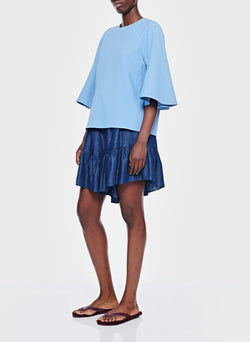 Chalky Drape Ruffle Sleeve Top Dusty Blue-5