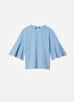 Chalky Drape Ruffle Sleeve Top Dusty Blue-2