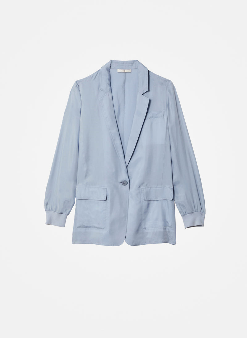 Cupro Soft Blazer Blue Grey-5