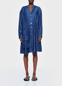Dark Indigo Drape Anorak Dress Dark Indigo-1
