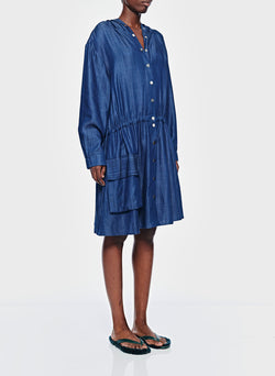 Dark Indigo Drape Anorak Dress Dark Indigo-3