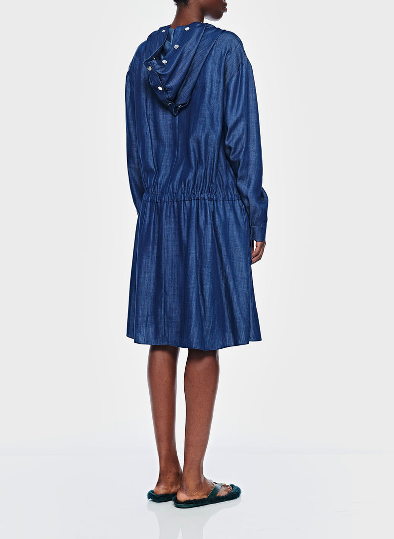 Dark Indigo Drape Anorak Dress Dark Indigo-4