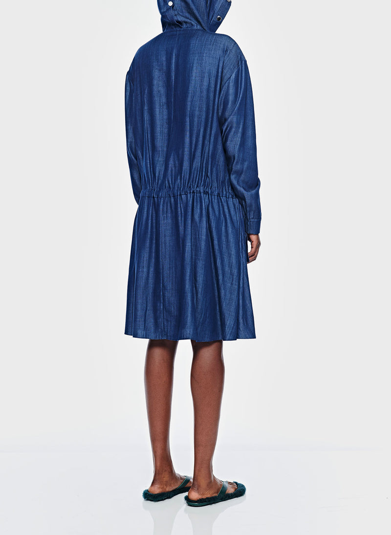 Dark Indigo Drape Anorak Dress Dark Indigo-5