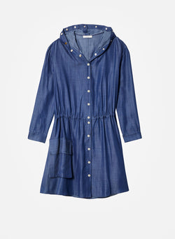 Dark Indigo Drape Anorak Dress Dark Indigo-6