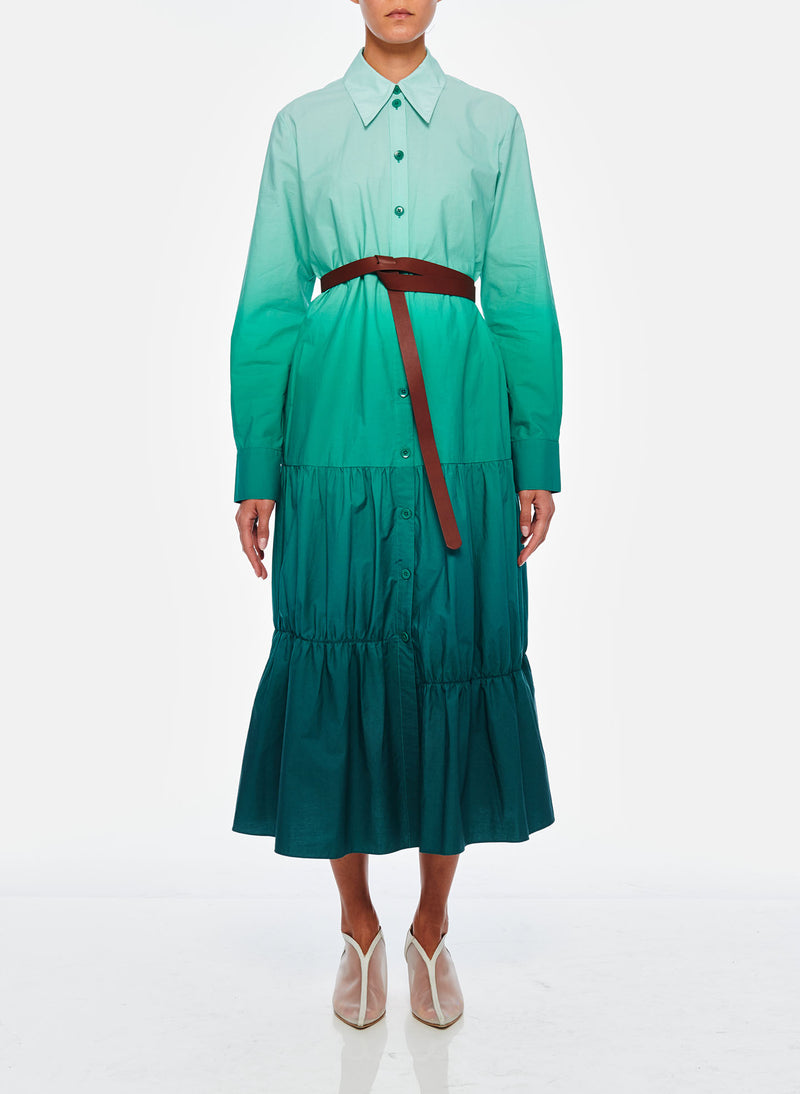 Dip Dye Shirtdress Green-1