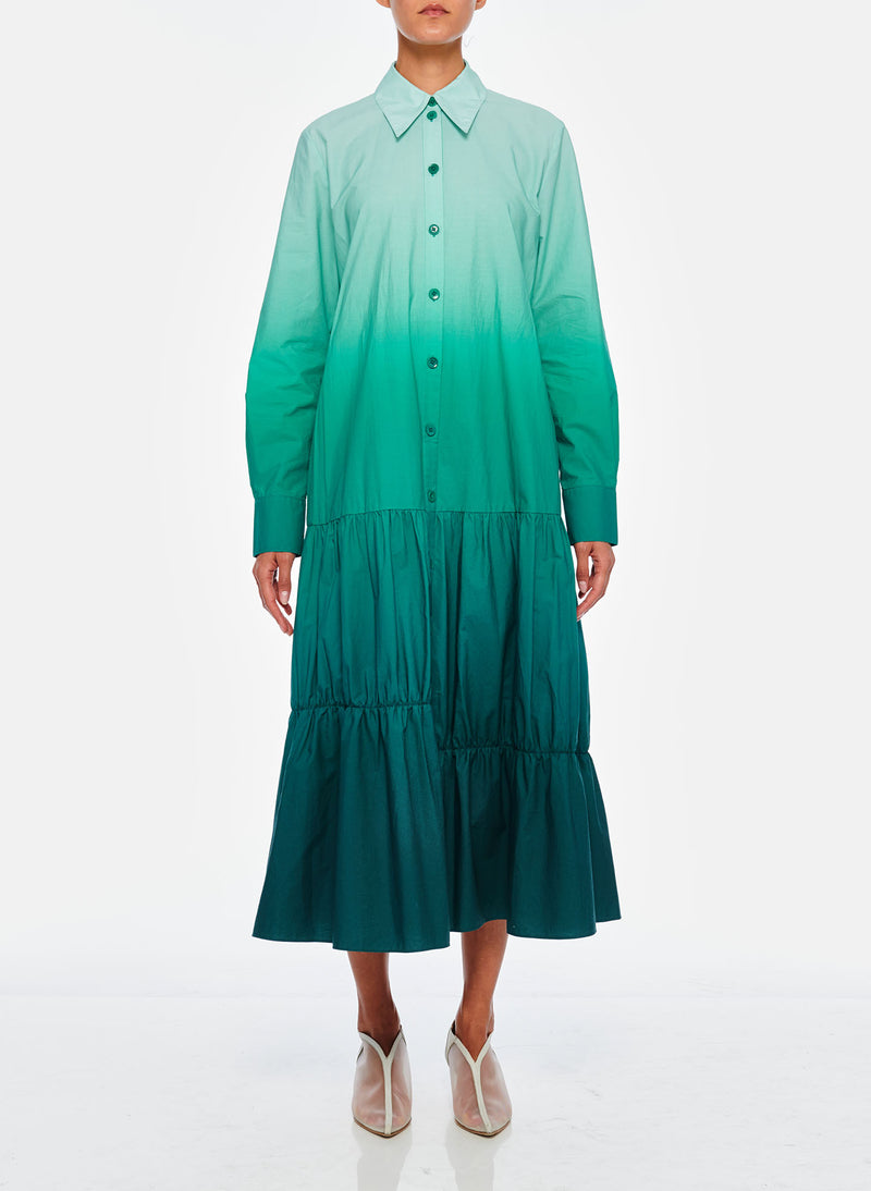 Dip Dye Shirtdress Green-2