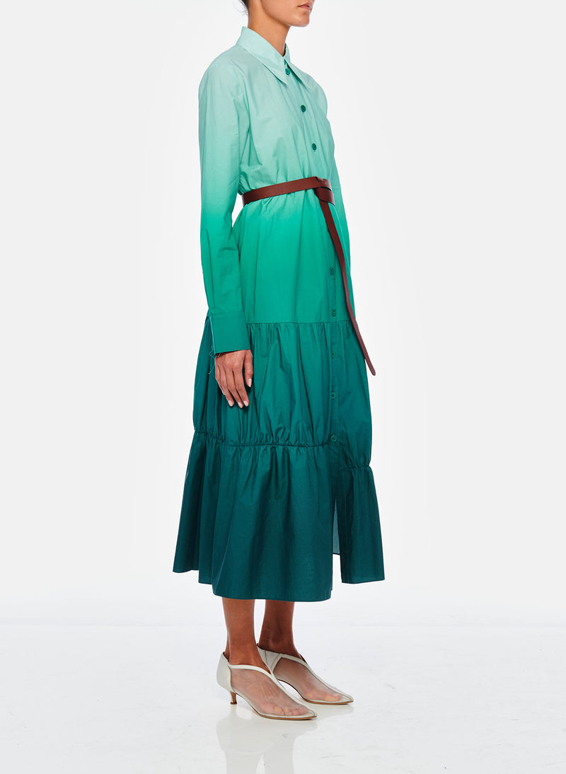 Dip Dye Shirtdress Green-5