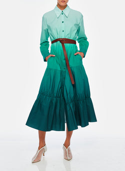 Dip Dye Shirtdress Green-3