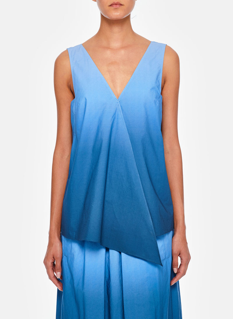 Dip Dye Deep V-Neck Top Blue Wash-5