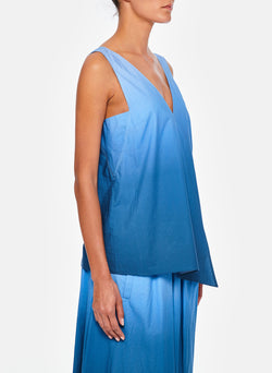 Dip Dye Deep V-Neck Top Blue Wash-6