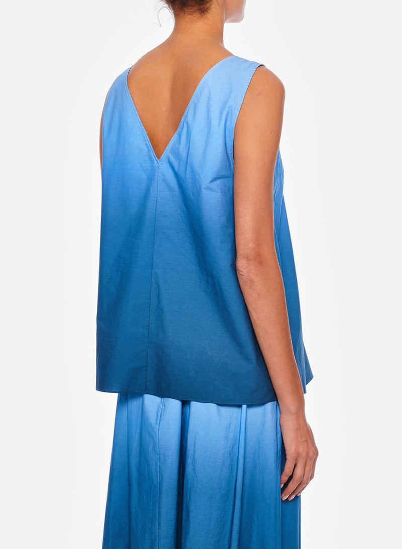 Dip Dye Deep V-Neck Top Blue Wash-7