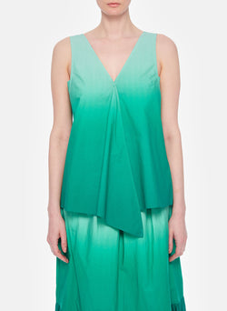 Dip Dye Deep V-Neck Top Green Wash-9