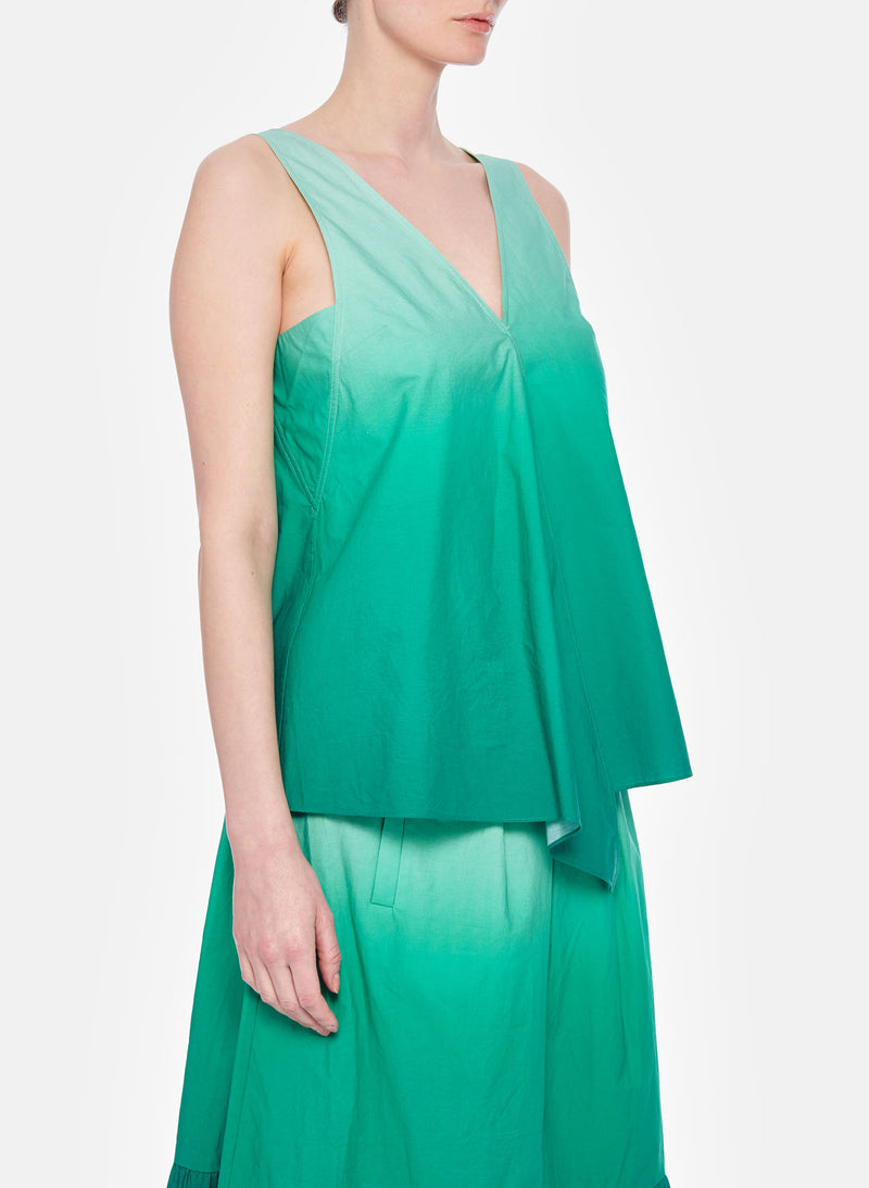 Dip Dye Deep V-Neck Top Green Wash-11
