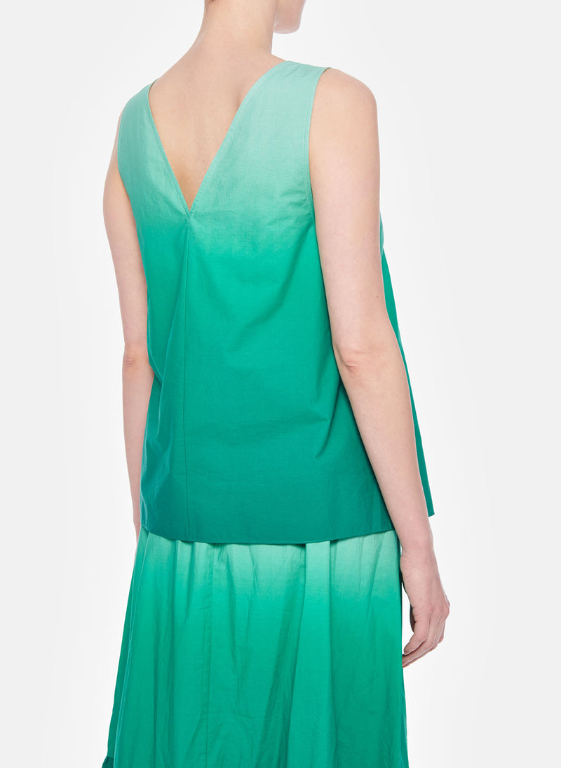 Dip Dye Deep V-Neck Top Green Wash-12