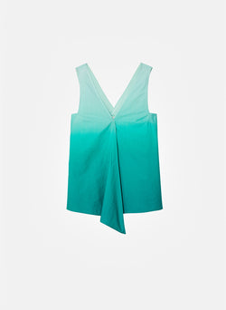 Dip Dye Deep V-Neck Top Green Wash-10