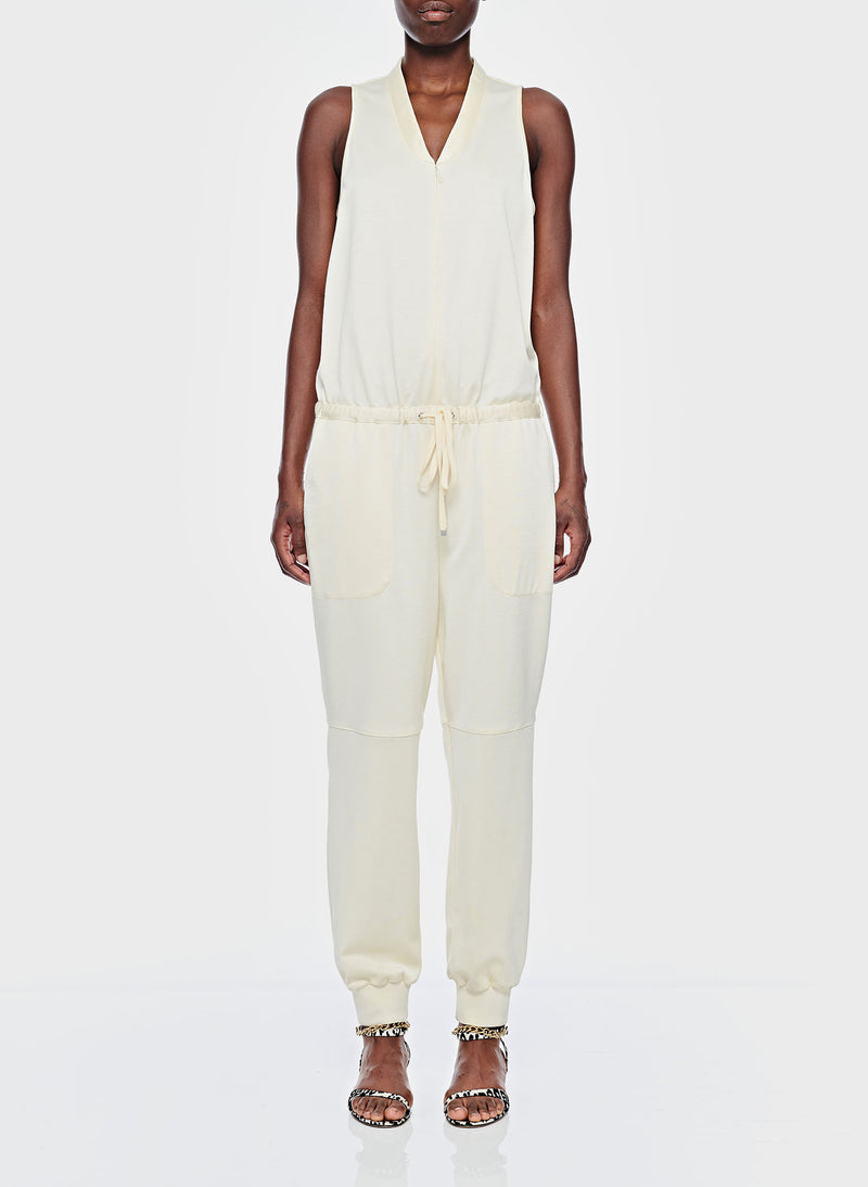 Sculpted Pique Jumpsuit Butter-1