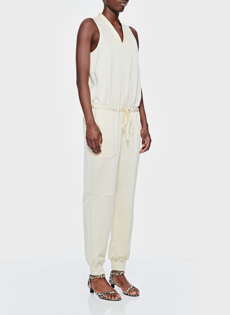 Sculpted Pique Jumpsuit Butter-2