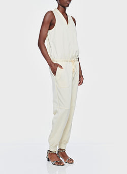 Sculpted Pique Jumpsuit Butter-4