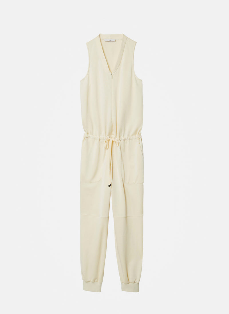 Sculpted Pique Jumpsuit Butter-6