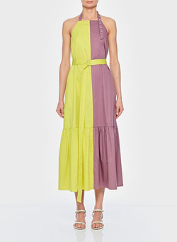 Tech Poplin Colorblock Dress Dusty Plum Multi-8