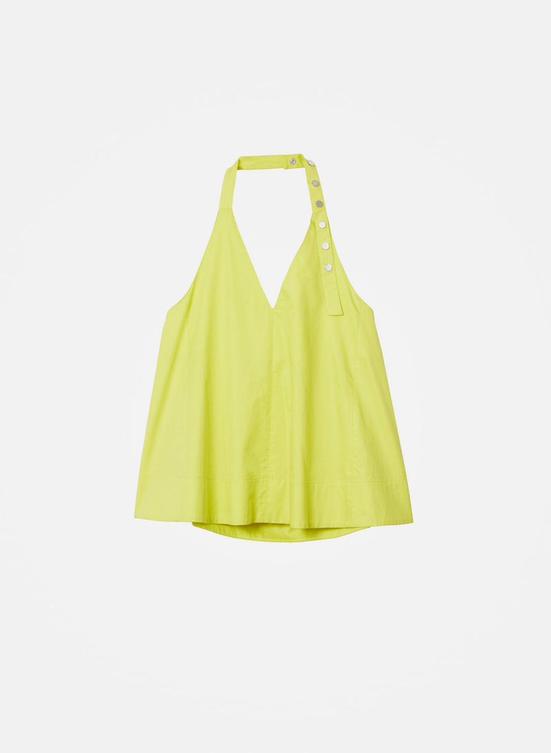 Tech Poplin Halter Top Yellow-9