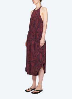 Silk Halter Jumpsuit Dark Plum Multi-2