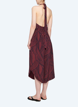 Silk Halter Jumpsuit Dark Plum Multi-3