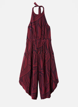Silk Halter Jumpsuit Dark Plum Multi-6